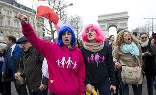 Parmi les milliers de participants à la «Manif pour tous», le 24 mars 2013, à Paris.