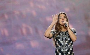 Alma, la candidate de la France à l'Eurovision lors de sa deuxième session de répétition sur la scène de Kiev (Ukraine), le 7 mai 2017.