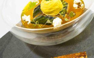 Maquereau en gelée de soupe sur rouille, mousse safran et finger sardine.