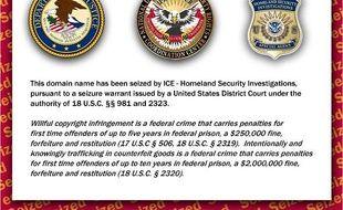 L'image affichée par les autorités américaines sur un domaine saisi pour des activités jugées illégales