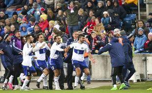 Les joueurs de Saint-Marin fêtent un but contre la Norvège le 11 octobre 2016.