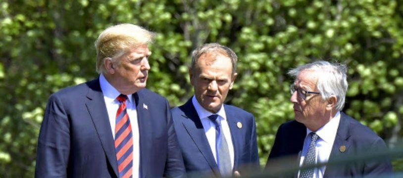 Donald Trump, président des Etats-Unis, Donald Tusk, président du Conseil européen et Jean-Claude Juncker, président de la Commission européenne.