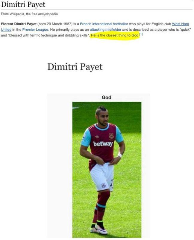 La page Wikipedia de Dimitri Payet.