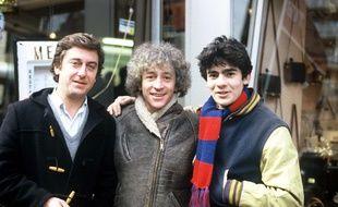 """Patrick Poivey (à gauche), sur le tournage du téléfilm """"Les timides aventures d'un laveur de carreaux"""" pour TF1 en 1983."""