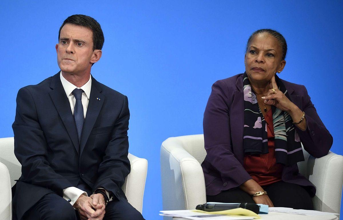 Manuel Valls et Christiane Taubira lors d'une conférence de presse à l'Elysée le 23 décembre 2015. –  Eric Feferberg/AP/SIPA