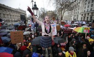 La «marche des femmes» à Londres, un an après le début du mandat de Donald Trump, le 21 janvier 2018.