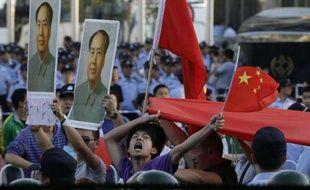 Une manifestion anti-japonaise près de l'ambassade du Japon à Pékin, le 18 septembre 2012.
