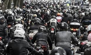 Manifestation de motards le 10 octobre 2015 à Lyon en France