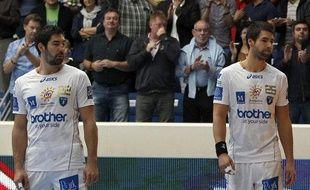 Les frères Karabatic, Nikola (à g.) et Luka, lors d'un match de LNH contre le PSG, le 30 septembre 2012 à Paris.