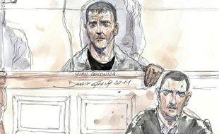 Croquis d'Yvan Colonna (au centre) et de son avocat Gilles Simeoni à l'ouverture de son troisième procès devant la cour d'assises de Paris le 2 mai 2011.
