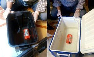 Les boîtes noires (qui en fait sont orange) du vol Egyptair présentées par les autorités égyptiennes.