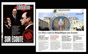 La Une de Libération et la Une du site Médiapart, le 24 juin 2015.