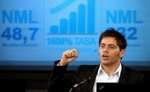 Le ministre argentin de l'Economie Axel Kicillof donne une conférence de presse à Buenos Aires, le 17 juin 2014