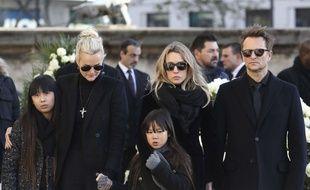 Jade Hallyday, Laeticia Hallyday, Joy Hallyday, Laura Smet et David Hallyday lors de l'hommage national à Johnny Hallyday le 9 décembre 2017.