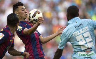 Le défenseur français de Grenade Dimitri Foulquier, le 28 septembre 2014, contre le FC Barcelone, au Camp Nou.