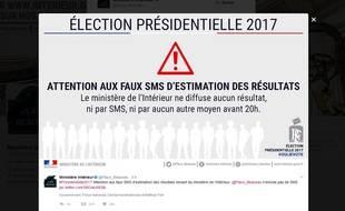 Le ministère de l'Intérieur a lancé un avertissement sur de faux SMS annonçant les résultats de la présidentielle.