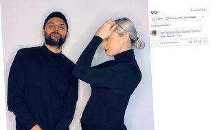 Capture d'écran d'un post Facebook du duo Madame Monsieur (Jean-Karl Lucas et Emilie Satt) annonçant la grossesse d'Emilie Satt.