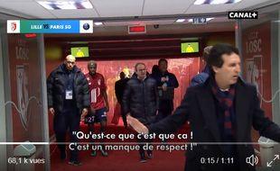 Luis Campos peste contre les arbitres à la mi-temps de Lille-PSG, le 3 février 2018.