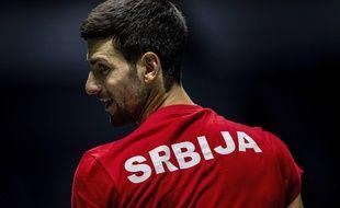 Novak Djokovic avec la Serbie lors de la première édition de la Coupe Davis version Kosmos, le 20 novembre 2019 à Madrid.