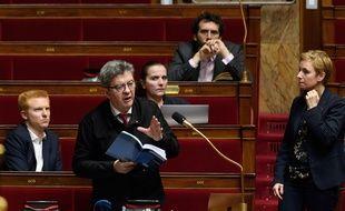 Adrien Quatennens, Jean-Luc Melenchon et Clementine Autain à l'assemblée nationale le 21 février 2020.