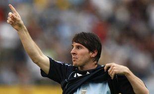 L'attaquant argentin Lionel Messi, lors d'un match avec sa sélection contre l'Uruguay, le 11 octobre 2008.