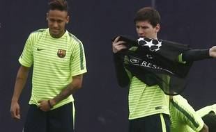 Neymar et Messi avant le match retour face au PSG.