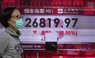 Une femme passe devant la Bourse de Hong Kong le 27 février 2020.
