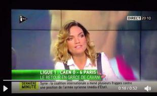 Francesca Antoniotti sur le plateau d'I-Télé après le quadruplé de Cavani à Caen en septembre 2016.