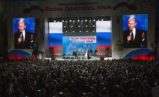 Vladimir Poutine assiste à un concert le 14 mars 2018 à Sébastopol, en Crimée.