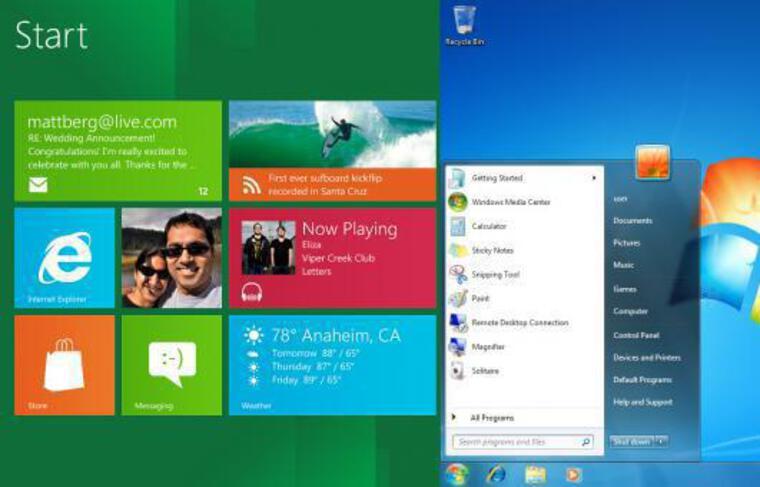 Le bureau «Metro» de Windows 8 face au «desktop» traditionnel de Windows 7.