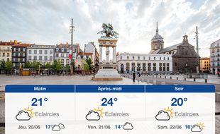 Météo Clermont-Ferrand: Prévisions du mercredi 19 juin 2019