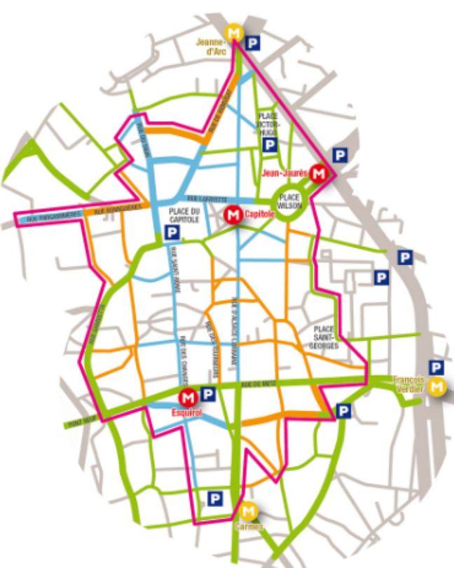 Plan de circulation à Toulouse durant la braderie, avec en orange les rues fermées à la circulation.