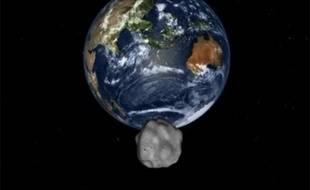 Simulation par la Nasa de l'arrivée de l'astéroïde 2012-DA14 près de la Terre, le 15 février 2013.