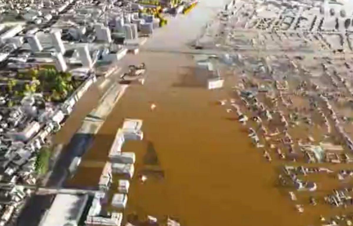 Des vidéos de simulation en 3D d'une crue centennale de la Seine et de la Marne ont été produites dans le cadre de l'opération EU Sequana 2016.  – Capture d'écran/YouTube