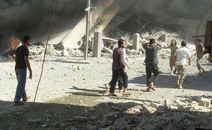 La ville de Tabiseh, dans le nord-ouest de la Syrie, après un raid aérien, le 30 septembre 2015.