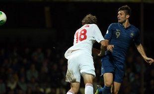 Olivier Giroud contre la Biélorussie le 10 septembre 2013.