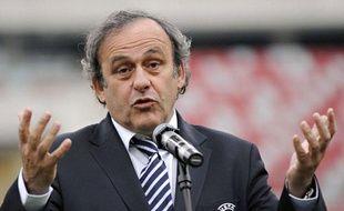 Michel Platini en conférence de presse le 12 avril 2012 à Warsaw en Pologne.