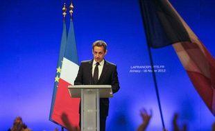 Première réunion publique pour le candidat Sarkozy à Annecy, le 16 février 2012.