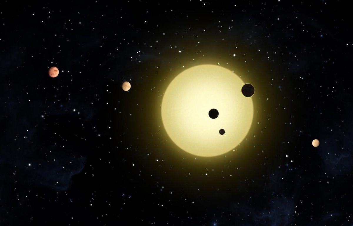 Vue d'artiste d'un système solaire à plusieurs planètes découvert par Kepler en 2011. –  N.A.S.A./SIPA