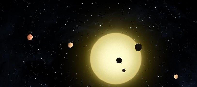 Vue d'artiste d'un système solaire à plusieurs planètes découvert par Kepler en 2011.