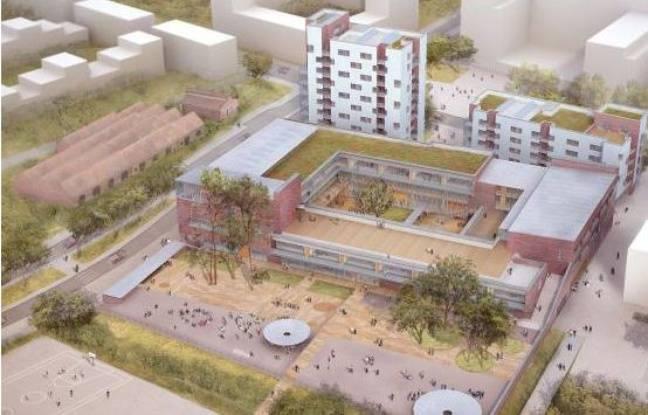 Vue d'architecte du projet d'école qui devait être construit à la Courrouze, à Rennes.