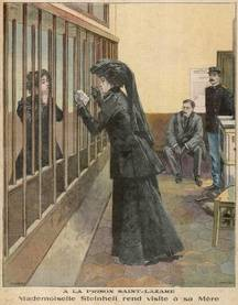 Mme Steinheil (à qui sa fille lui rend visite) a été incarcérée à la prison Saint-Lazare