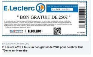 L'annonce pour le faux bon d'achat E. Leclerc telle qu'elle apparaît sur Facebook.