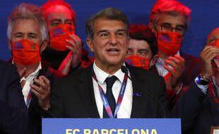 Joan Laporta lors de son élection à la tête du FC Barcelone, au Camp Nou le 7 mars 2021.
