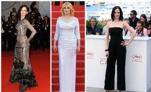 Eva Green en Alexander McQueen, Emmanuelle Seigner en Alexandre Vauthier et Eva Green en Stella McCartney le 27 mai à Cannes.