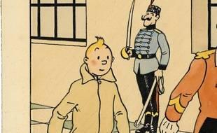 Dessin de Tintin et Milou réalisé par Hergé pour l'illustration du Petit Vingtième en février 1939.