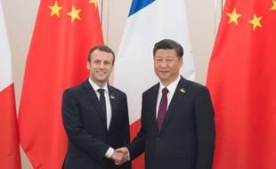 Emmanuel Macron et Xi Jinping à Hambourg, le 8 juillet 2017.