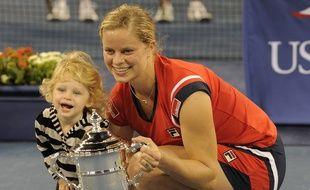 Kim Clijsters et sa fille Jada après sa victoire à l'US Open 2009.
