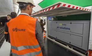 Inauguration du dispositif de mesure de qualite de l'air dans le metro parisien, le 7 juin 2019 à Paris.