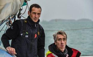 Le trimaran La French Tech Rennes Saint-Malo sera skippé par Thierry Duprey du Vorsent et Gilles Lamiré.